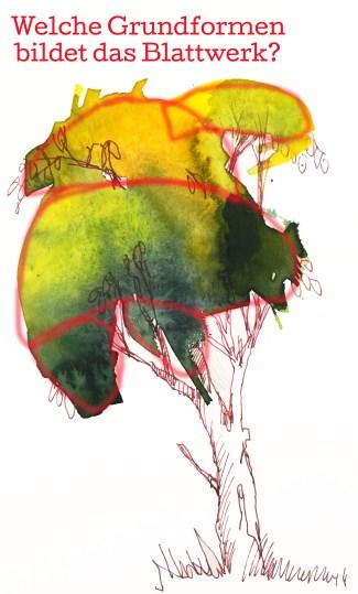 Anleitung Bäume malen, Tutorial Bäume malen lernen von Tine Klein für Aquarell, Skizzenbuch, Mallerei, Urban Sketching, Bildidee, weglassen, abstrahieren, das typische finden, Bäume, Bäume zeichnen, Bäume malen, Bäume skizzieren
