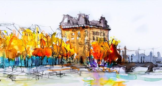 Tine Klein Herbstbäume am Bellevue in Zürich, urban Sketching, Bäume malen lernen, Bäume zeichnen, Anleitung Bäume malen