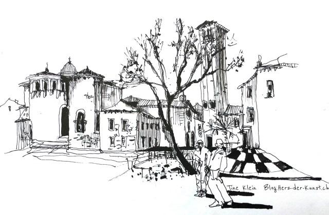Zeichnen lernen mit Strukturen, Tutorial von Tine Klein, Positiv Beispiel einer Zeichnung mit Struktur, Ort: Venedig San Giacomo dall oriao, urban sketching, urban sketch