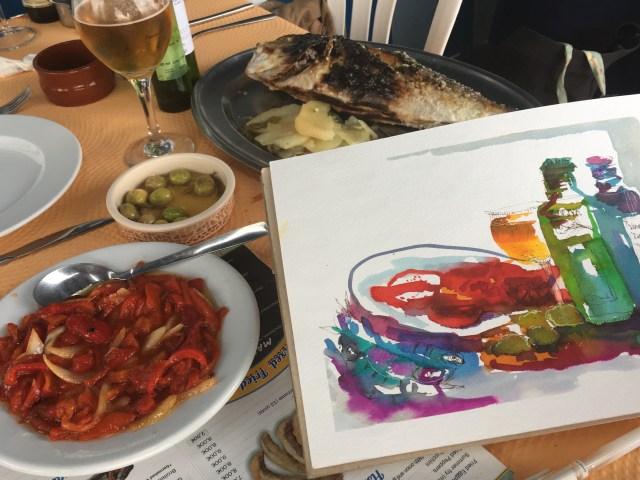 malen lernen mit Genuss, Tine Klein, Skizze des Abendessens
