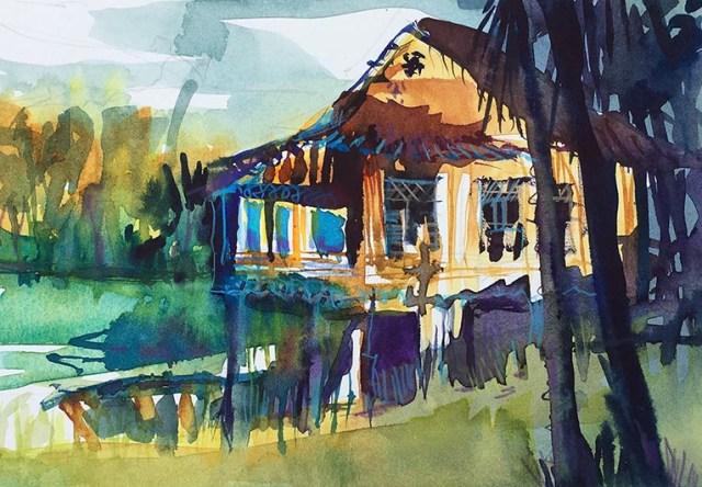 Bon Ton Malysia Tine Klein Aquarell Hütte am See, malen lernen