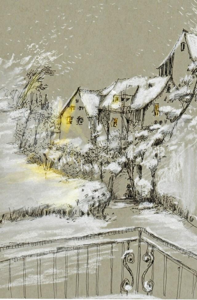 Tine Klein Tutorial Schnee malen Häuser mit Schnee im Laternen licht, Motiv Männedorf am Zürichsee