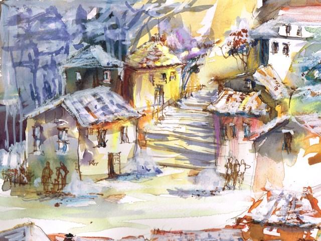 Tine Klein Treppe zum Marktplatz Tessin Bildentwurf