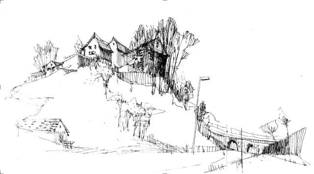 Tine Klein von Skizzen zum Bild Tusche Zeichnung Feldbach am Zürichsee