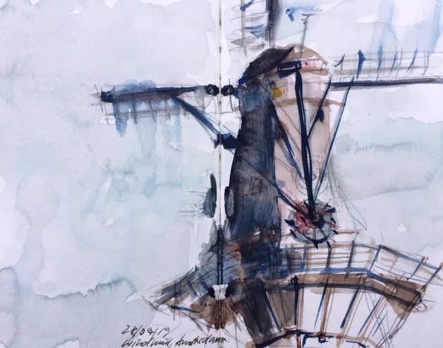 Claudia Stichel Windmühle im Regen Tutorial schwarz und dunkle Töne