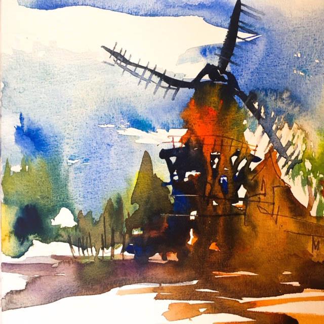schwarz und dunkle Töne Aquarellskizze der Windmühle in Amsterdam Tine Klein