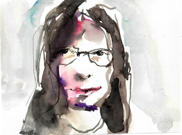Porträt von Tine Klein im Livestream gemalt mit Aquarell und Füllhalter