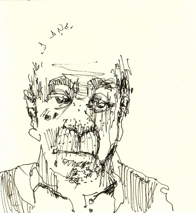 Tine Klein malt ein Portrait eines alten Mannes mit Füllhalter und Schraffur Technik