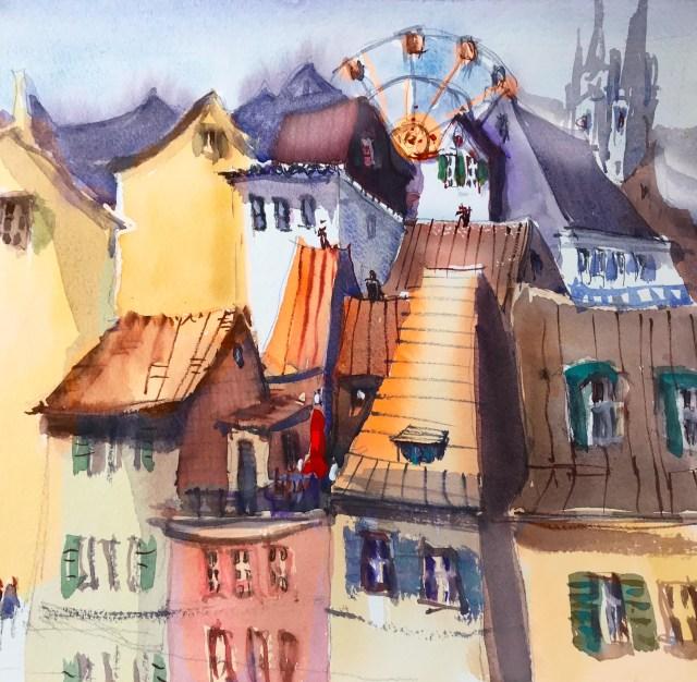 Basel urban sketching. Die Malerei macht Dinge sichtbar. In diesem Tutorial verrät Tine, wie man in der Malerei das Auge mit harten und weichen Kanten steuern kann.