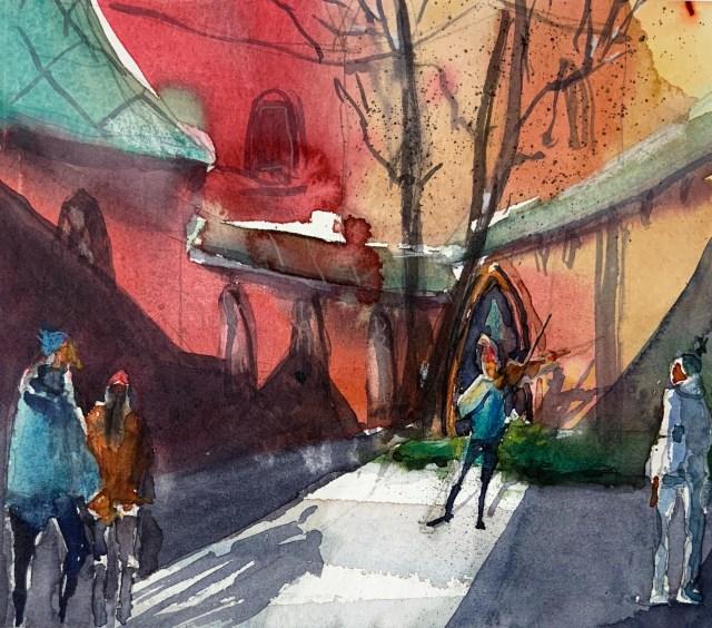 Tine Klein, Aquarell Geiger am Münster in Basel, malen lernen mit Achtsamkeit