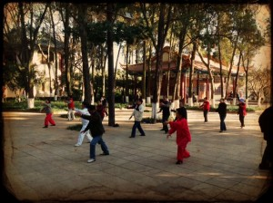 Locals indulging in early afternoon Taichi at Cuihui lake park. Made a public park in 1910, the park, known as Green Lake park in English was first established during the 17th century.