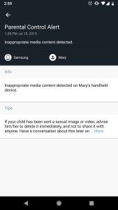 Exemple d'alerte du contrôle parental