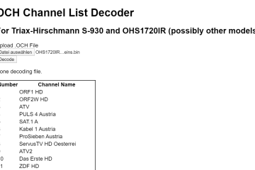 Screenshot of the channel list decoder website
