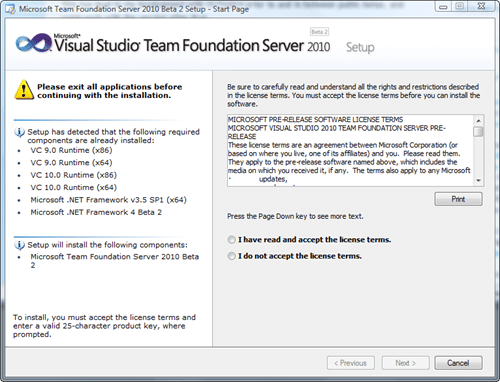 Microsoft Team Foundation Server 2010 Install - Start Page