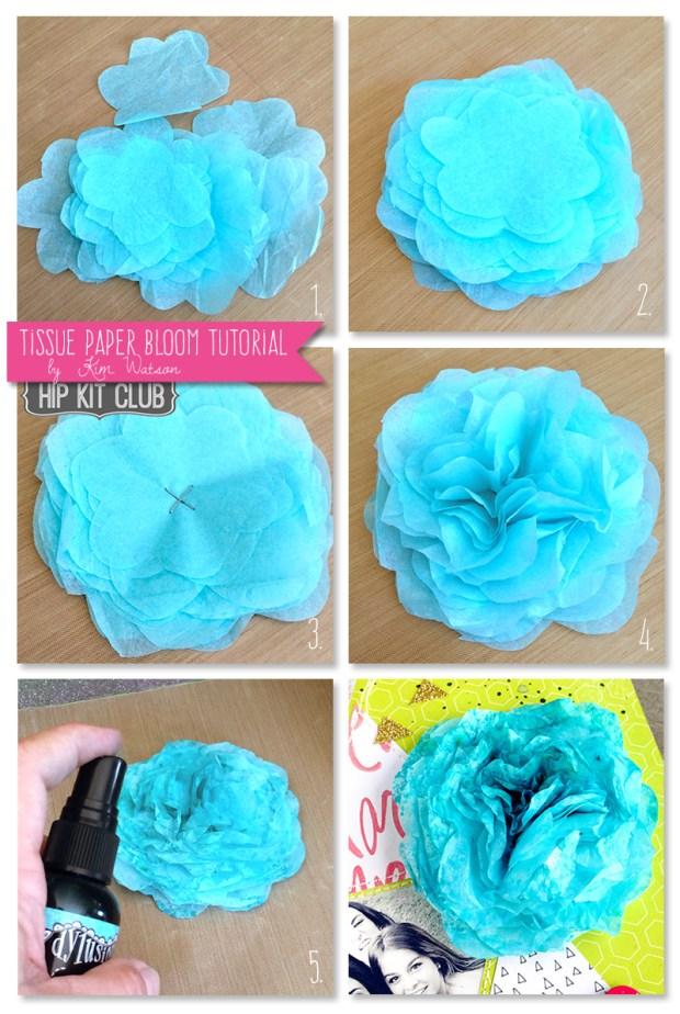 #DIY: Tissue paper flower by @KimWatson @hipkitclub #2015Februarykit #hipkitclub #tutorial @wermemorykeepers @heidiswapp @cratepaper #scrapbooking #layout