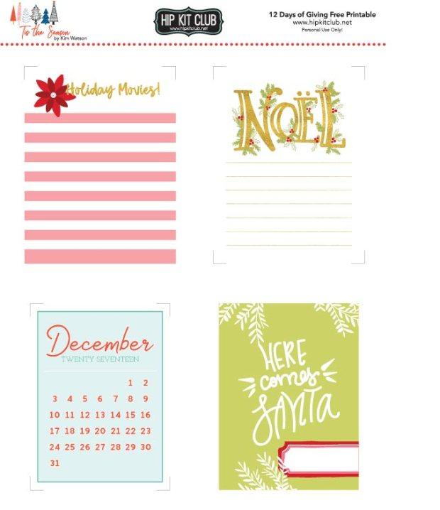 HKC 12 Days of Giving Printable