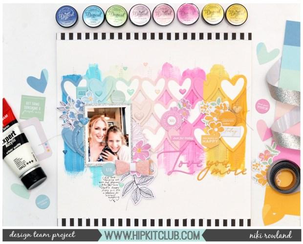 Love You More Niki Rowland Pinkfresh Studio My Favorite Story Lindy's Stamp Gang Magical Scrapbooking Mixed Media set
