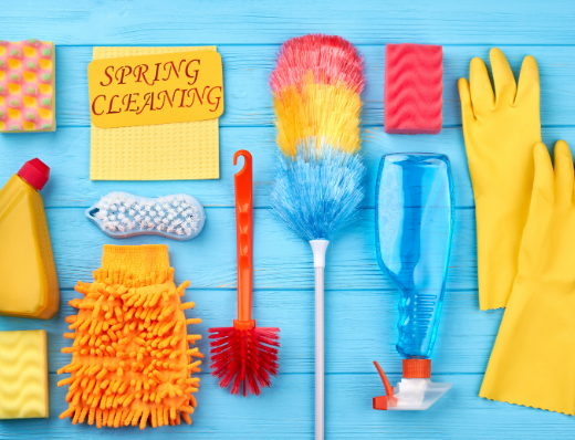 spring cleaning, brushes, bright colours, gloves, cleaning requirements