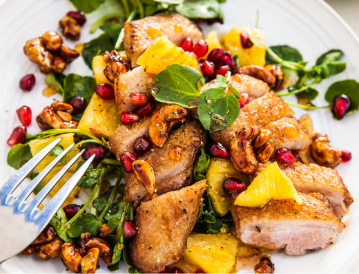 Festive Duck Breast Salad with Seared Pineapple and Pomegranate