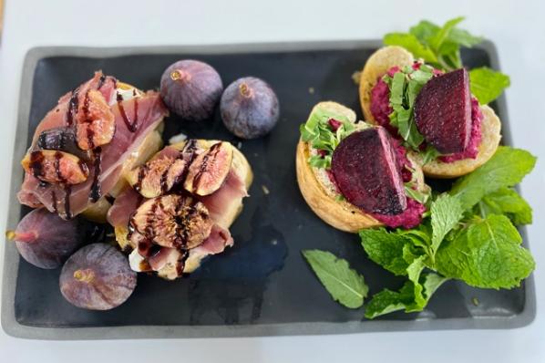 Roasted Beetroot Hummus AndParma Ham Starter on Garlic Bruschetta
