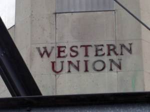 Western Union sign on the Tenley terminal, 2002.