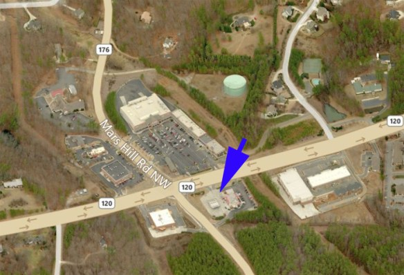 Lost Mountain crossroads c. 2012 with former blacksmith shop location indicated. Credit: Bing Maps.