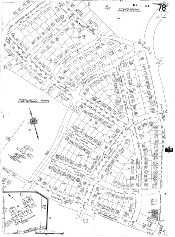 Sanborn Map Company fire insurance map of Northwood Park (updated 1940).