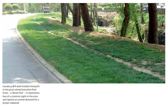 """DeKalb County desire line illustrated in the 2008 study, """"A New Public Realm for DeKalb County."""""""