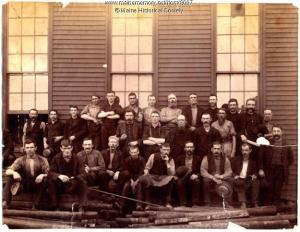 Blacksmith shop employees, Portland Company, 1887. Credit: Maine Historical Society.