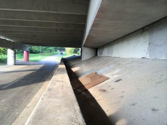 Homeless campsite beneath Freedom Parkway, August, 2014.