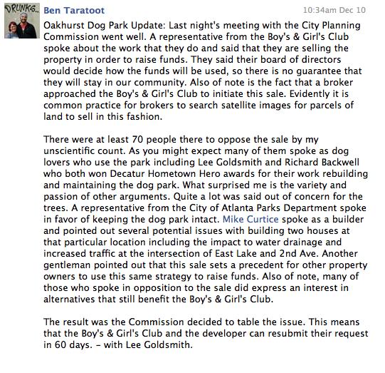 Oakhurst Neighborhood Association Facebook page, December 10, 2014.