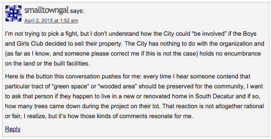 """Phyllis Gilbert (aka, """"smalltowngal"""") commenting on Decatur Metro, Apr. 2, 2015."""
