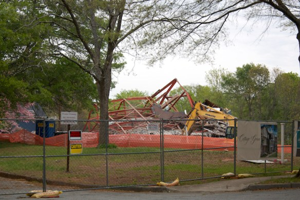 Former Antioch A.M.E. Church being demolished in 2014.