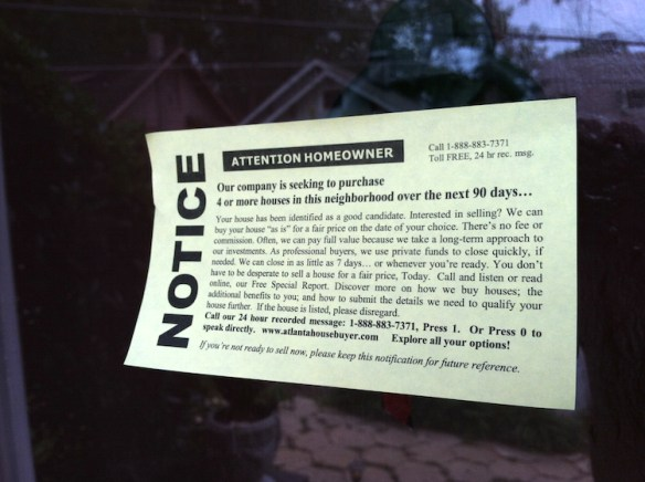 "One of the so-called ""yellow stickers"" let on our Atlanta home in 2012."