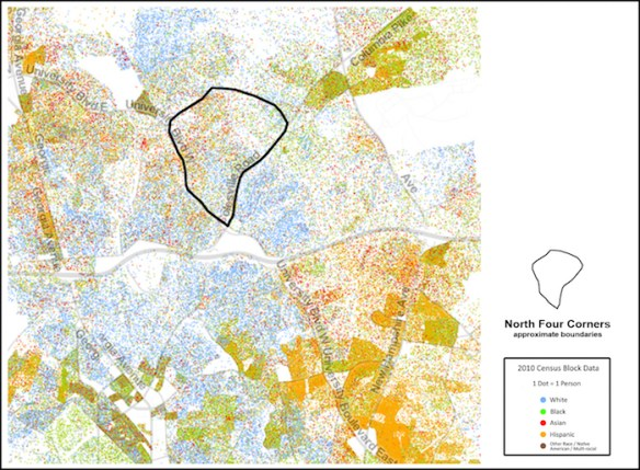 1.Racial Dot Map, University of Virginia Weldon Cooper Center for Public Service. Adapted to illustrate North Four Corners neighborhood. Original at http://www.coopercenter.org/demographics/Racial-Dot-Map.