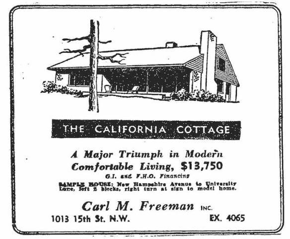 Washington Post advertisement, July 3, 1949.