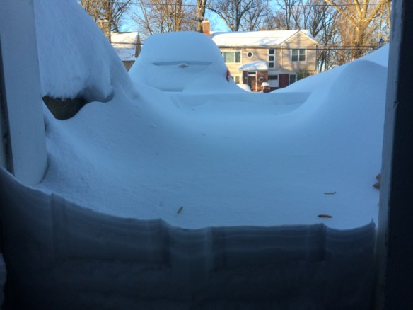 View from the garage, before shoveling.