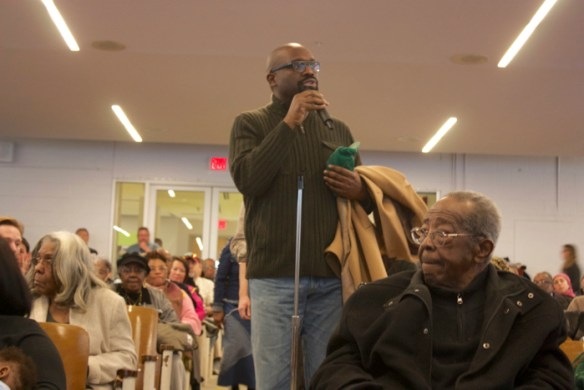 Rev. William H. Lamar IV speaking at the bike lanes public meeting.