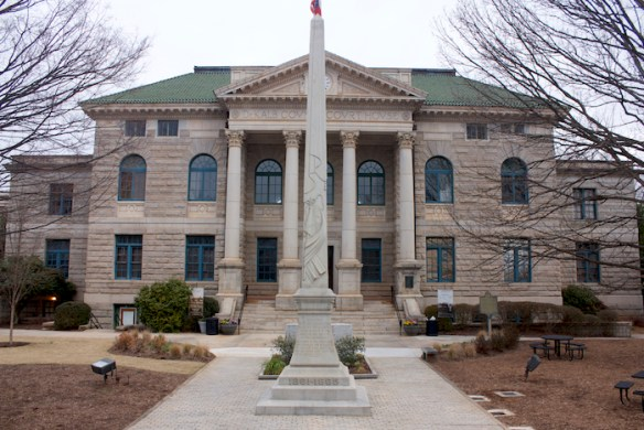 A Confederate monument is the most prominent historic object in Decatur's courthouse square.