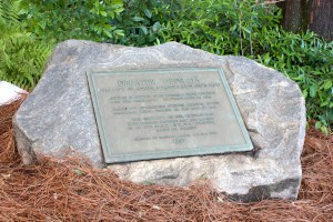 """A plaque outside Decatur's city hall proclaims it is a city of """"Homes, Schools, and Churches ... settled by Scotch-Irish pioneers."""""""