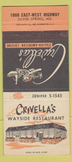 This image has an empty alt attribute; its file name is crivellas-matchbook-cover-ebay.jpg