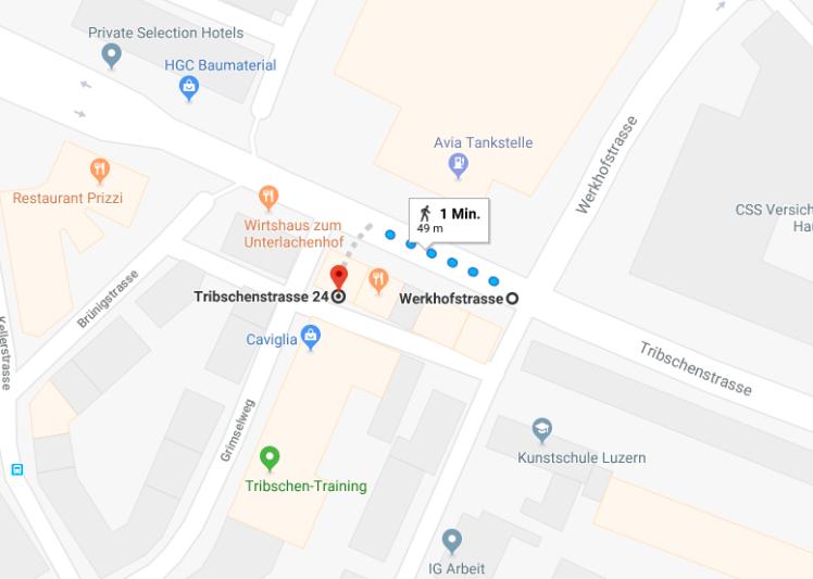 Wegbeschreibung von der Haltestelle Luzern, Werkhofstrasse bis zur Tribschenstrasse 24