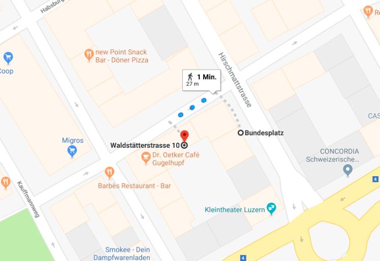 Wegbeschreibung von der Haltestelle Luzern, Bundesplatz bis zur Waldstätterstrasse 6/8/10