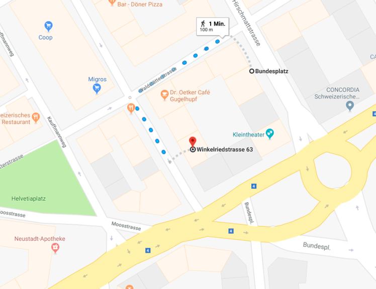 """Weg von der Haltestelle """"Bundesplatz"""" zur Winkelriedstrasse 63"""