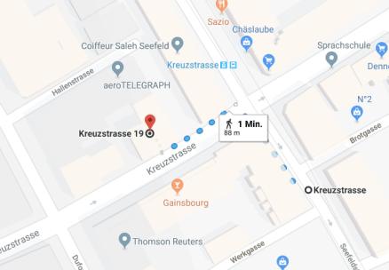 """Wegbeschreibung von der Haltestelle """"Kreuzstrasse"""" bis zur Kreuzstrasse 19"""
