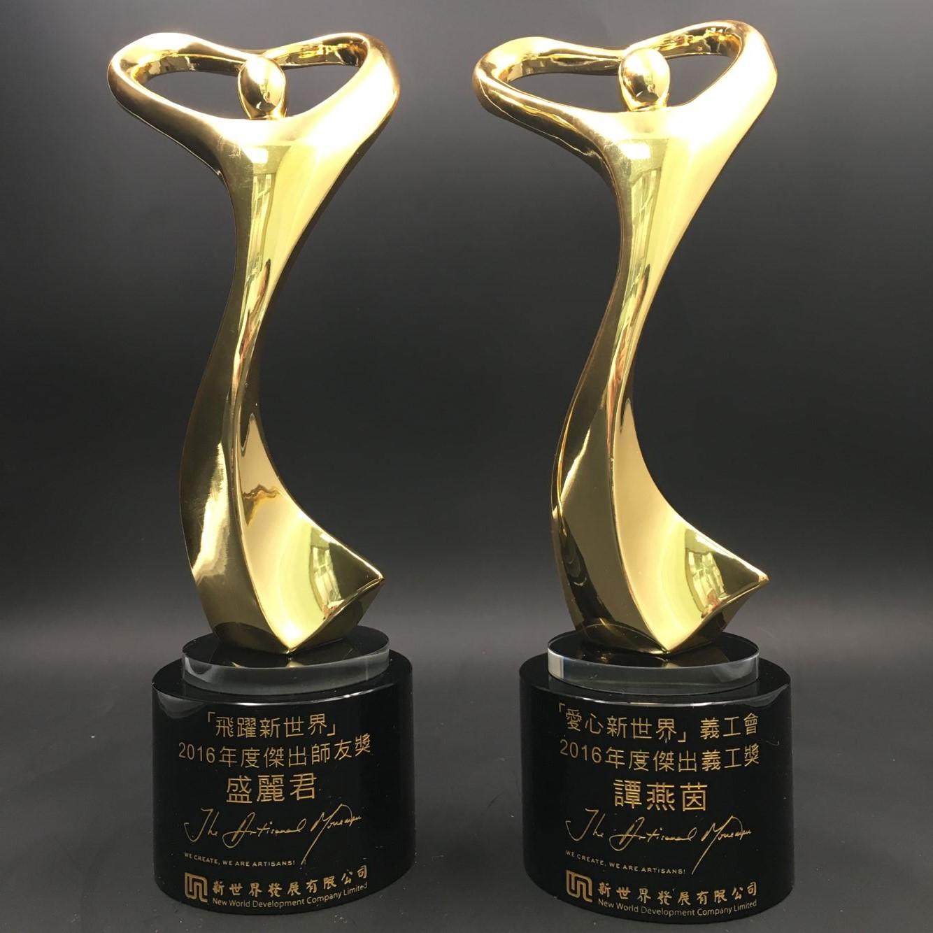 水晶獎座-愛心金人金屬水晶獎座 - JR0663 - 香港優質奬品設計公司 - 案例分享