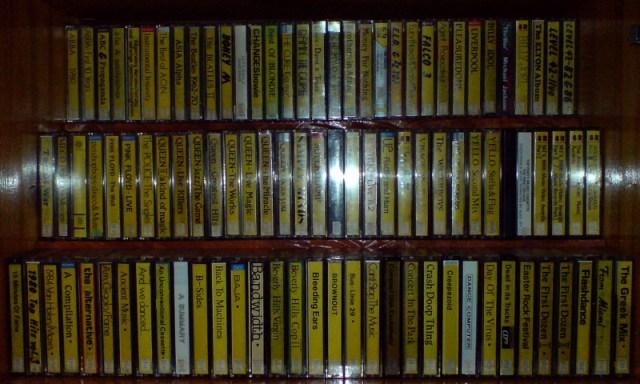 Shelf full of audio tapes