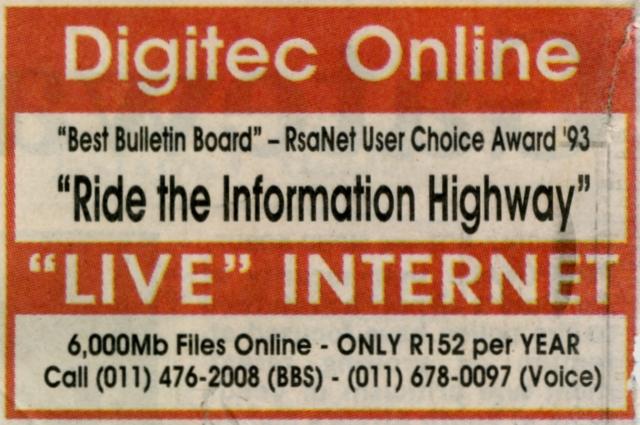 Digitec Online Newspaper Advert