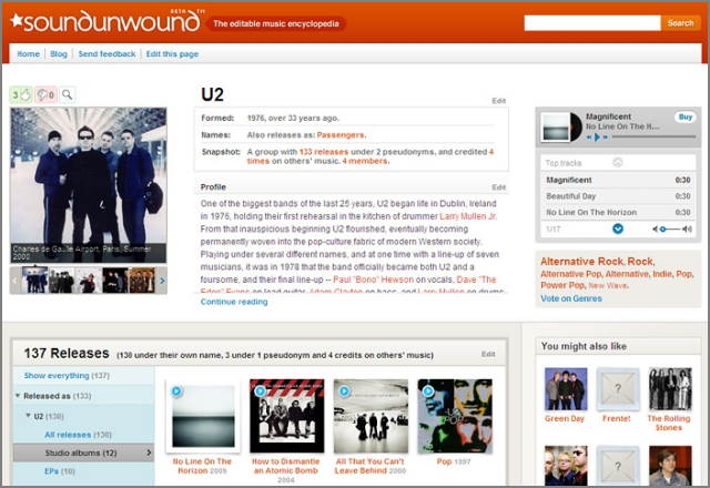 U2's page on Soundunwound