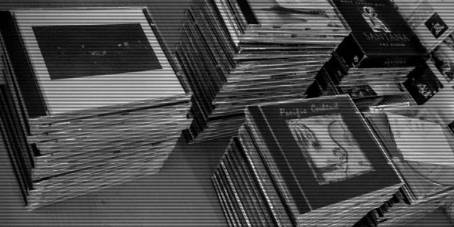Piles of compact discs